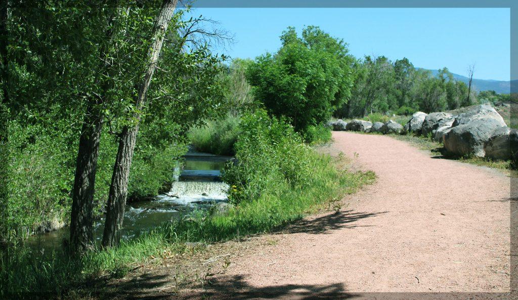 cedaredge, colorado, creek, path, walking trail,